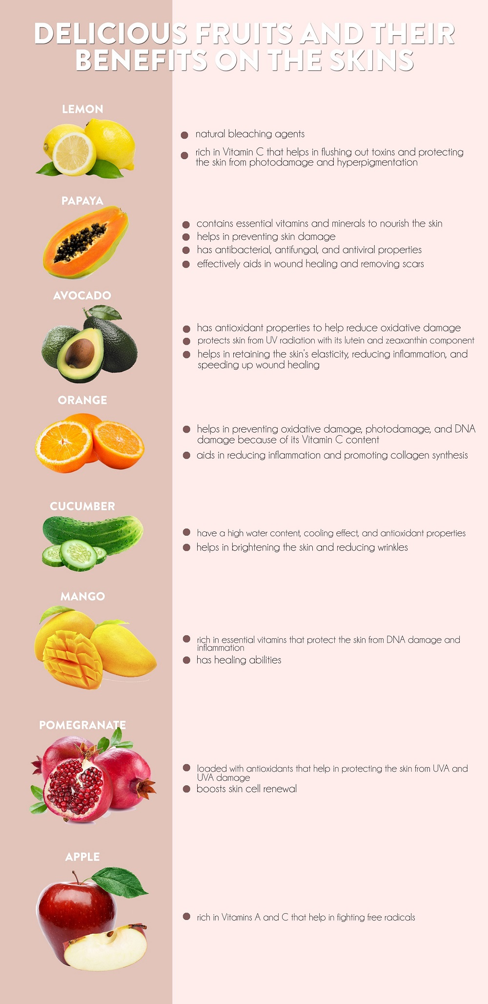 8 delicious fruits and their benefits on the skin - v&m naturals